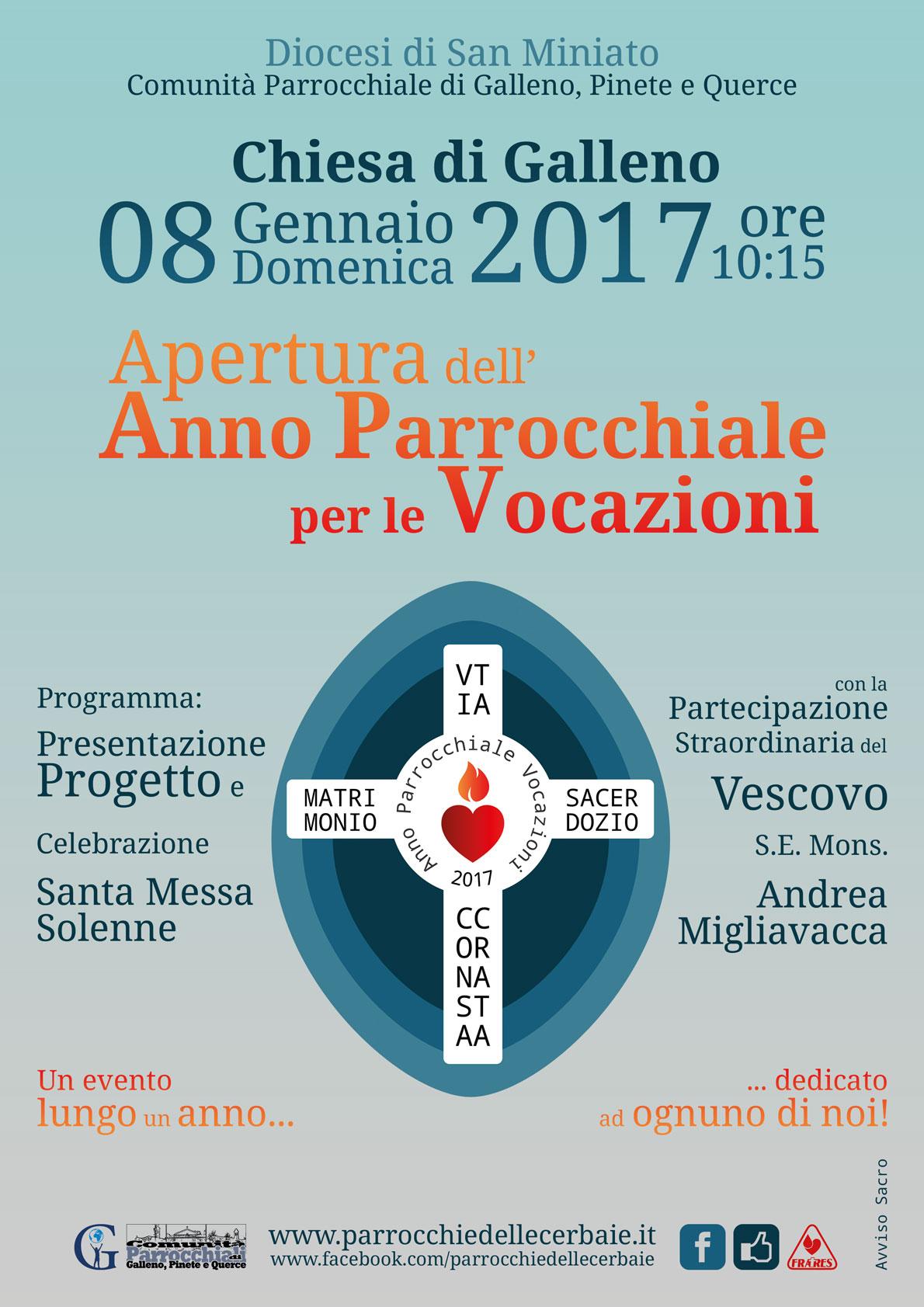 Apertura Anno Parrocchiale per le Vocazioni 8-1-2017