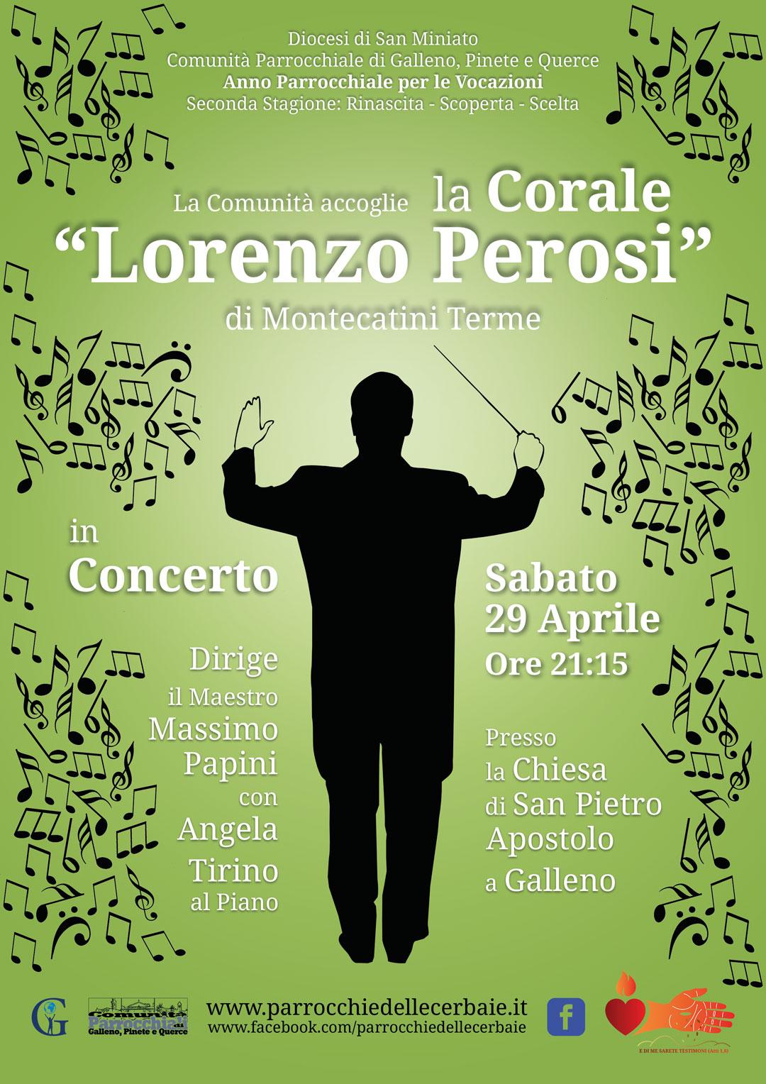 Corale Lorenzo Perosi in concerto a Galleno 29-4-2017