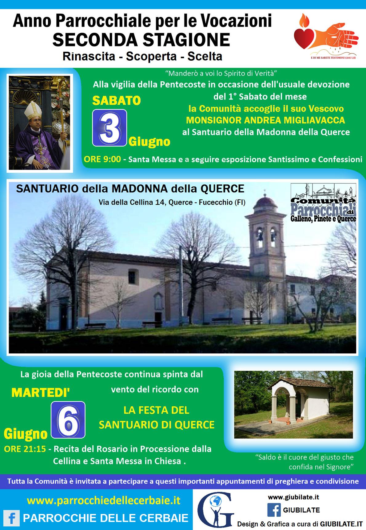 Pentecoste con il Vescovo Andrea Migliavacca al Santuario di Querce 3-6-2017