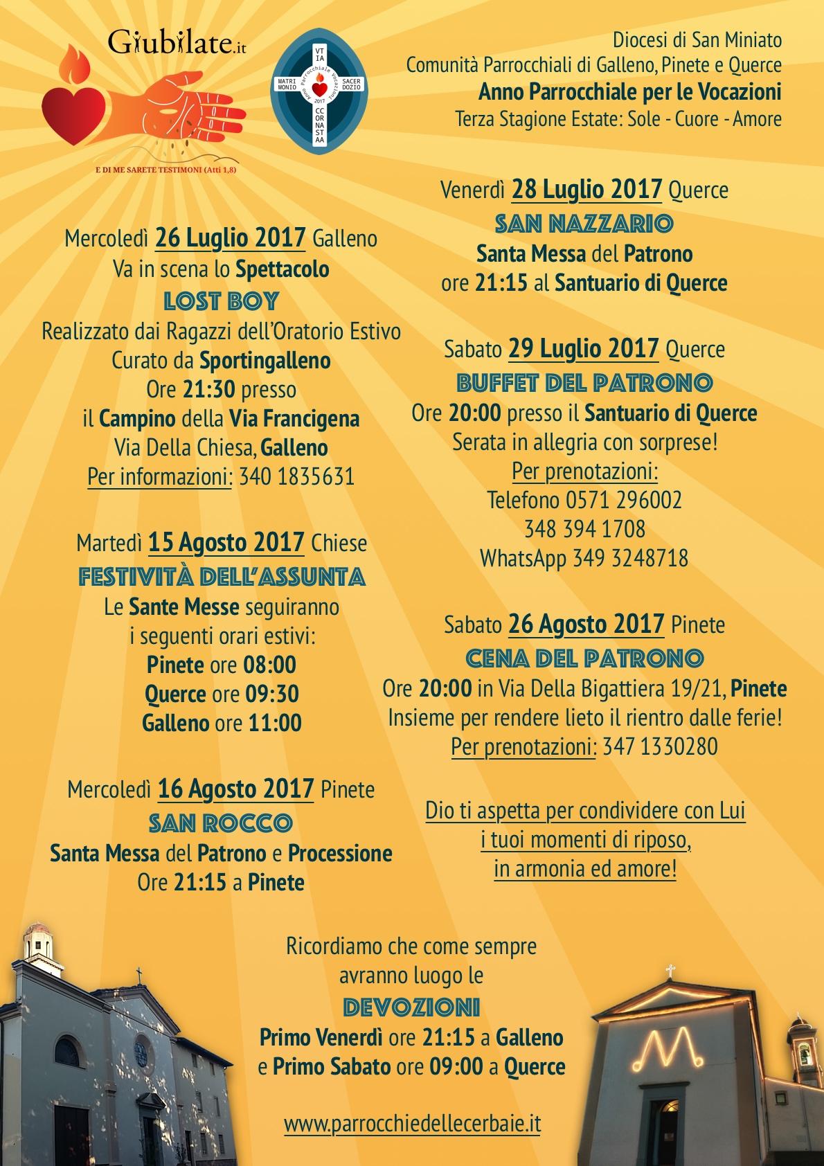 Anno Parrocchiale per le Vocazioni programma terza stagione 26-7-2017