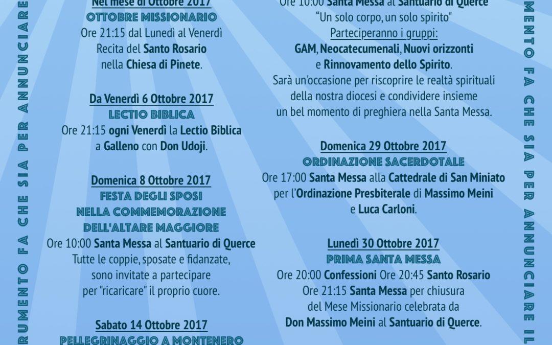 Anno Parrocchiale per le Vocazioni programma quarta stagione seconda parte 6-10-2017