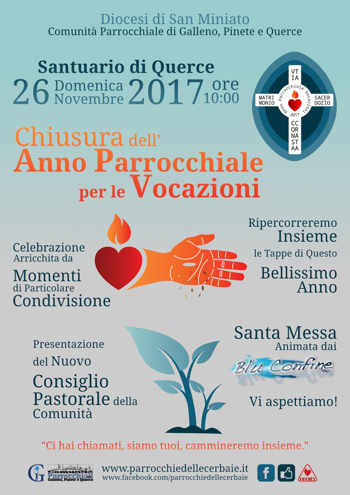 Chiusura Anno Parrocchiale per le Vocazioni al Santuario di Querce 26-11-2017