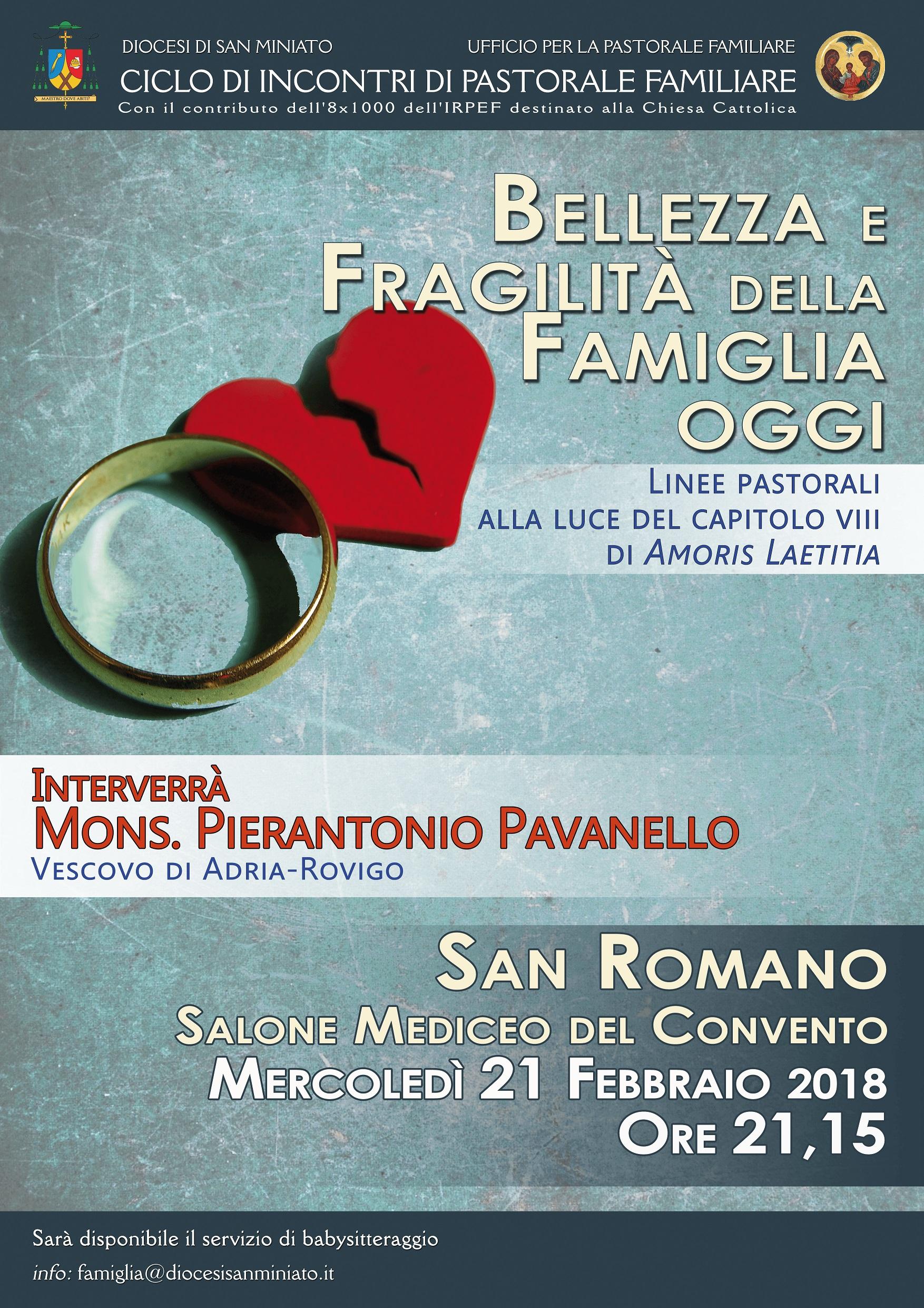 Bellezza e Fragilità della Famiglia oggi – Incontro su Amoris Laetitia al Convento di San Romano